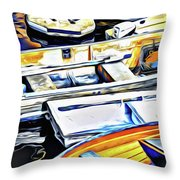 Summer Fishing Boats Throw Pillow