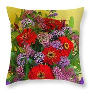 Summer Flower Bouquet Throw Pillow