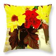 Summer Flowers Yellow Daisies Throw Pillow