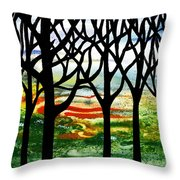 Summer Forest Abstract  Throw Pillow