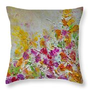 Summer Fragrance Abstract Painting Throw Pillow by Julia Apostolova