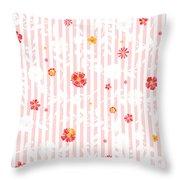 Summer Garden Floral Pattern Throw Pillow
