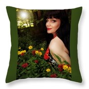 Summer Garden In The Late Afternoon Throw Pillow