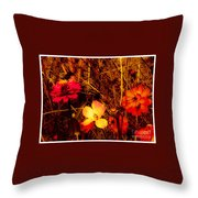 Summer Glow On Flowers Throw Pillow