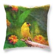Summer Goldfinch - Digital Paint 4 Throw Pillow
