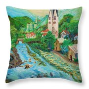 Summer In Alps Throw Pillow