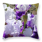 Summer Iris Garden Art Print White Purple Irises Flowers Baslee Troutman Throw Pillow