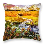 Summer Landscape Sunflowers Provence Throw Pillow by Ginette Callaway
