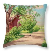 Summer Landscape With Hens Throw Pillow