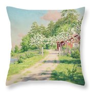 Summer Landscape With House Throw Pillow