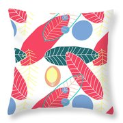 Summer Leaf In Pink  Throw Pillow