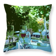 Summer Lunch Remembered Throw Pillow
