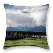 Summer Mountain Paradise Throw Pillow