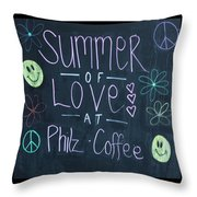 Summer Of Love At Philz Coffee Throw Pillow