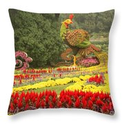 Summer Palace Flower Phoenix Throw Pillow