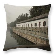 Summer Palace Pond With Ornate Balustrades Throw Pillow