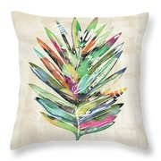 Summer Palm Leaf- Art By Linda Woods Throw Pillow