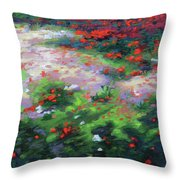 Summer Petals On A Forest Ground Throw Pillow