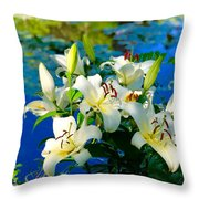 Summer Pond French Lilies Throw Pillow