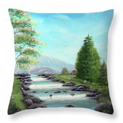Summer Raging Waters Throw Pillow