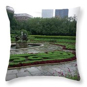 Summer Rain In The Conservatory Garden Throw Pillow