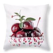 Summer Red Cherries Throw Pillow