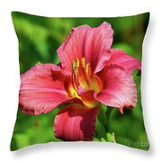 Summer Red Lily Throw Pillow
