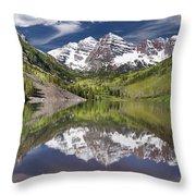 Maroon Bells Aspen Colorado Summer Reflections Throw Pillow