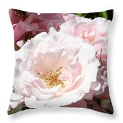 Summer Rose Garden Pink Flowers Baslee Troutman Throw Pillow