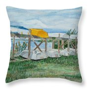 Summer Row Boats Throw Pillow