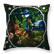Summer Stained Glass Panel Throw Pillow