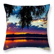 Sunset At Agency Lake, Oregon Throw Pillow