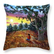 Summer Sunset Meditation Throw Pillow