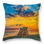 Summer Sunset On The Beach Throw Pillow