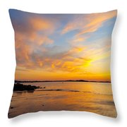 Summer Sunset Over Ipswich Bay Throw Pillow
