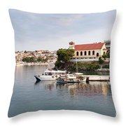 summer vacation scene Neos Marmaras Greece Throw Pillow