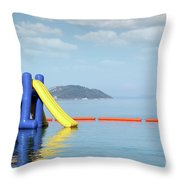 Summer Vacation Scene With Water Slide  Throw Pillow