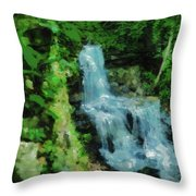 Summer Waterfall In West Milton Throw Pillow