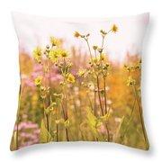 Summer Wildflower Field Of Sunflowers Throw Pillow