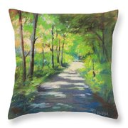 summer woods at Kenoza Lake Throw Pillow by Leslie Alfred McGrath