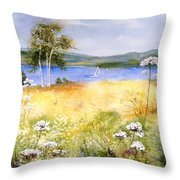Summertime Birches Throw Pillow