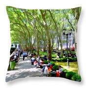 Summertime In Bryant Park Throw Pillow