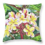 Summertime Kauai Island Plumeria Watercolor By Jenny Floravita Throw Pillow