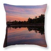 Summit Lake Reflected Sunset   Throw Pillow