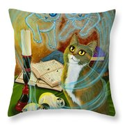 Summoning Old Friends - Ghost Cats Magic Throw Pillow
