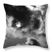 Sun And Clouds - Grayscale Throw Pillow