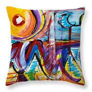 Sun And Waves Throw Pillow