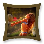 Sun Beach Girl Throw Pillow