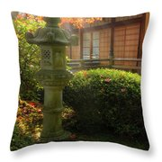 Sun Beams Over Japanese Stone Lantern Throw Pillow