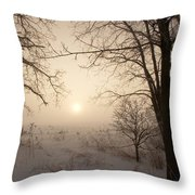 Sun Breaking Fog II Throw Pillow